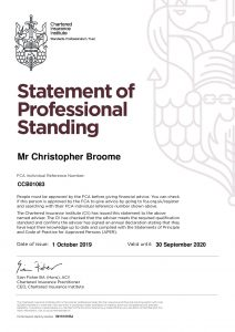 Chris Broome - Statement of Professional Standing